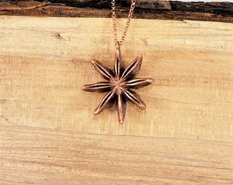 Electroformed Real Anise Seed Copper Necklace   M28