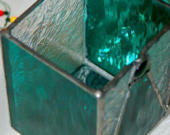 Candle Holder Emerald Green with Mirrored Bottom and Clear Feathery-Textured Stained Glass Perfect Gift or Home Decor Ready to Ship!