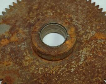Heavy Steel Gear Lamp Base Candle Holder Steampunk Rusty Vintage Misc Metal Cast