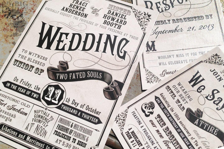Civil Union Wedding Invitation Set. Fun Typography wedding