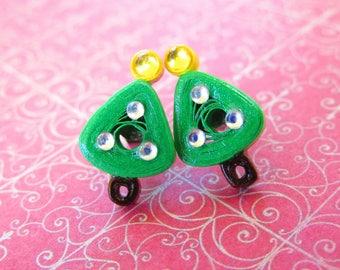 Christmas Tree Earrings, Chrismas Tree Studs, Pinup Earrings, Quilled Earrings, Rockabilly Jewellery, Quilled Jewellery, Christmas Trees