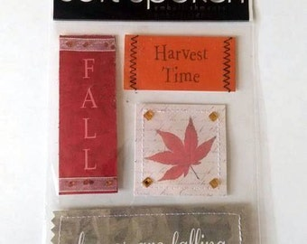 Me & My Big Ideas Soft Spoken Autumn Fall Harvest Dimensional Sticker Sheet Scrapbook Destash Paper Craft Card Making Embellishments