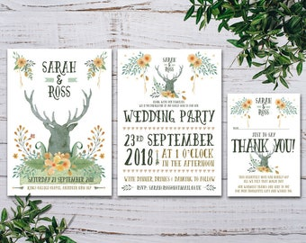 Woodland Wedding Stationery - Stag Head Wedding Stationery - Fall Wedding - Spring Wedding - Outdoor Wedding