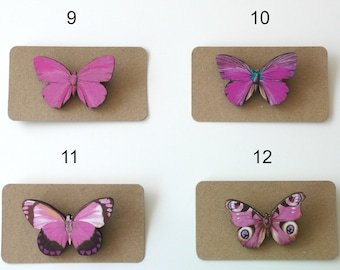 Butterfly Brooch, Bright Pink Insect Pin, Pastel Pink Butterfly Jewelry, Laser Cut Wood Butterfly, Wooden Butterfly