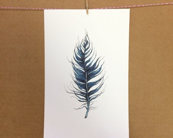 Watercolor/Ink-Feather (Blue 2)