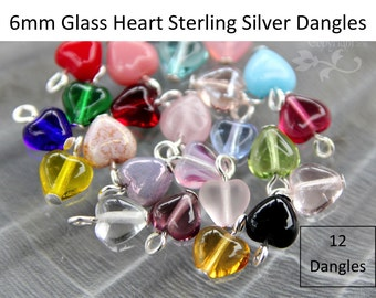 12 Twelve small 6mm glass heart dangles with STERLING SILVER loops - for jewelry and crafts - birthstone colors & more- wire wrapped