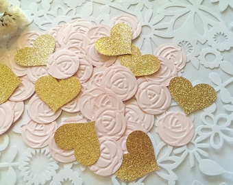 Pink and Gold heart Confetti,100pc/Pink Heart Confetti, tea party confetti,Gold and pink confetti,Rose confetti,Paper rose confetti