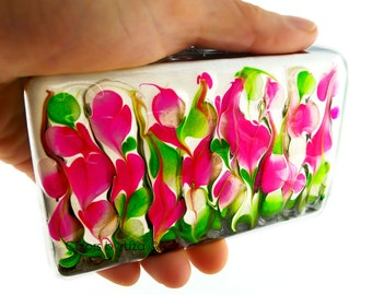 Large Metal Accordion Wallet with Organizer Hand Painted Enamel Fuchsia and Lime Green Custom Colors and Personalized Options