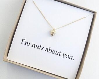 Or je vais noix vous collier gland, petite amie, anniversaire, cadeau, octobre, novembre, femme, amour, drôle, mignon, Dainty, Dogeared, charme,