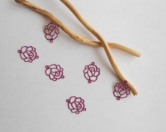 Purple set of 6 flower prints