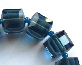 8mm Montana Blue Crystal Cube Beads - 12 Pieces