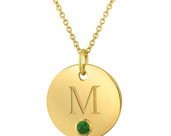 Letter M Necklace, Gold Initial Charm Necklace, Birthstone Letter M Pendant, Gold Plated Initial M Disc Pendant With Personalized Birthstone