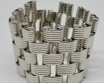Large and Heavy Silver Tone Bracelet
