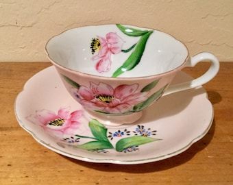 Vintage 1950s Ucago China Pink Teacup and Saucer