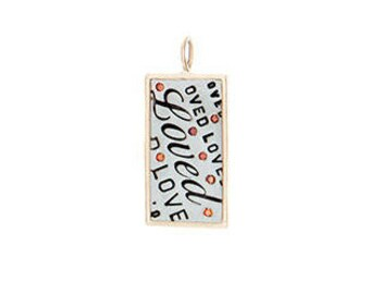 Sterling Silver Rectangle with 14K Yellow Gold Rim and Red Diamonds - Valentines Day Gift for Her - Loved Charm - 13mm x 25mm Pendant