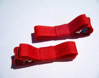 2 Small Red Hair Bows - No Slip Grip