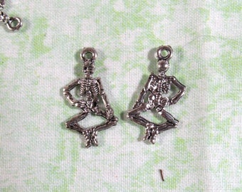 10 Antique Silver Full Skeleton Charms 25x14mm (B376L)