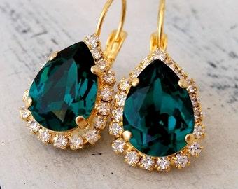 Emerald earrings, Emerald green earrings,Swarovski earrings,emerald bridal earrings,emerald bridesmaids earrings,Gold or silver earring