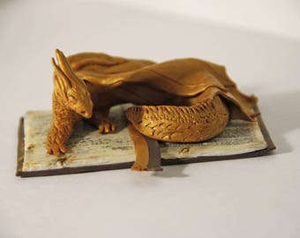 Fantasy Dragon Gold Dragon Miniature Dragon on Book Fantasy Creature Sculpture Dungeons and Dragons Dragon Lover Gift