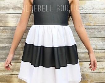Black and White dress - Striped formal dress - Color Block girls dress -Black and white flower girl dress - Toddler Holiday dress -