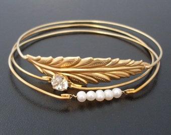 Leaf, Cultured Freshwater Pearl and Rhinestone Bracelet Set, Bridal Pearl Bracelet, Bride, Fall Wedding Jewelry, Winter Wedding Jewelry