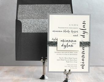 "Glitter Wedding Invitations, Gray Wedding Invitations, Glitter Envelope Liners, Modern Wedding Invitation - ""Silver & Glitter"" Deposit"