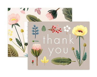Spring Bloom Thank You Card - Grey