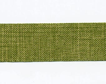 Ribbon 22 mm by the yard olive green linen look