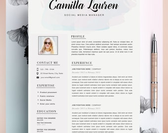 Creative Resume Template, CV Template, Instant Download, Editable in MS Word and Pages + Cover Size Letter A4 and US Letter
