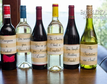 Gold and White Striped Engagement Gift Wine Bottle Labels