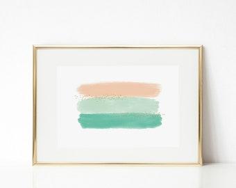 PEACH + MINT | brushstroke print | 5x7 | DIGITAL print