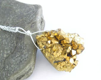 Gold Titanium Necklace, Quartz Crystal Cluster Druzy Stone Pendant, Sterling Silver Chain