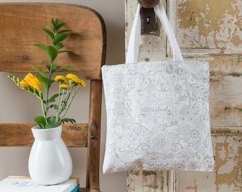 Doodle Floral Tote Bag