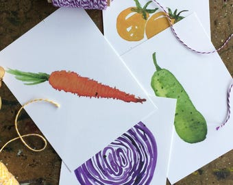 Vegetable Postcards, watercolor postcards, vegetable art