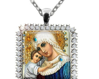 Holy Mother Child Jesus Glass Tile Pendant Necklace Virgin Mary Rhinestone Pendant Religious Necklace