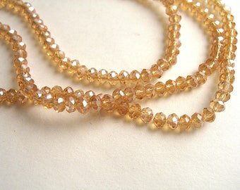 honey yellow faceted glass AB 3.5x2.5mm 150 beads