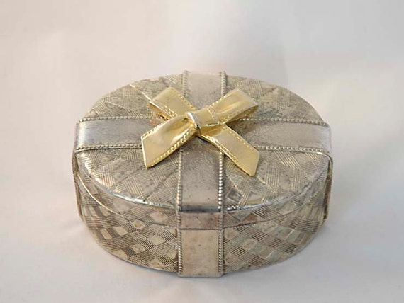 Vintage Silverplate Textured METAL JEWELRY BOX With Brass Bow