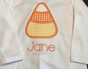 Halloween T-Shirt, Onesie, Personalized, Preppy, Monogrammed, Candy Corn, Trick or Treat