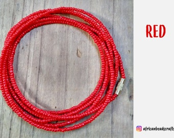 Waist Beads - African Waist Beads - African jewelry - Belly Chain - Body Jewelry - Belly Beads - Red Jewelry