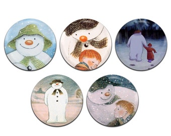 5x The Snowman TV Christmas 25mm / 1 Inch D Pin Button Badges