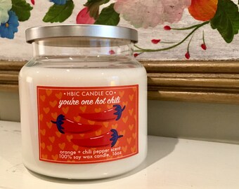Orange and Chili Pepper Scented Soy Candle, 16oz