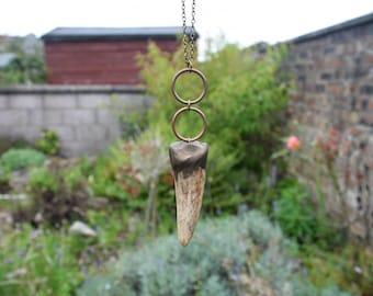 Double hoop deer antler necklace
