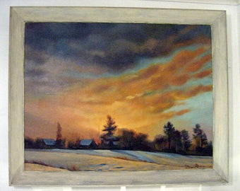 "Bangor Maine Artist Franco ""Frank"" Nanartonis (1918-) Oil on Canvas Dated 1957 Luminist Skies signed from Estate of Patricia Ann Probst"