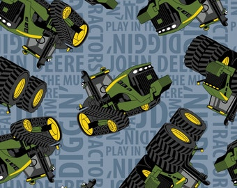 ON SALE!! John Deere - Tractor on Text Fleece Fabric - Blue - sold by the 1/2 yard
