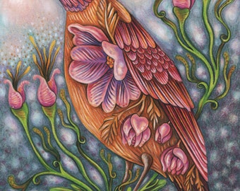"""Hope Eternal - an 8 x 10"""" ART PRINT of a spring inspiring pink and orange bird who iinvokes peaceful thinking and a calm gentle attitude"""