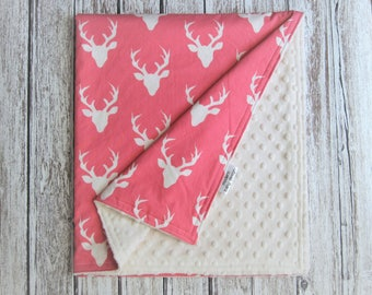 Pink and Cream Deer Baby Blanket, Buck Forest Carmellia Minky Baby Blanket,  Pink and Cream Woodland Baby Blanket, Boy Girl Blanket