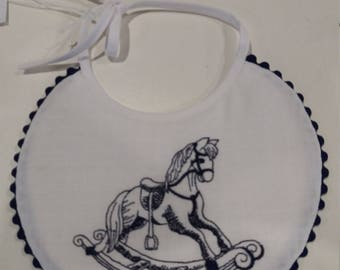Embroidered Linen Heirloom style Baby Bib