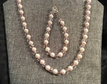Swarovski Pearls and Swarovski Crystal set, Necklace, Bracelet and Earrings