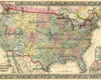 "Antique Map of United States-1863 Ultra High Resolution 8"" x 10"" to 40"" x 60"" 300 dpi instant digital download"