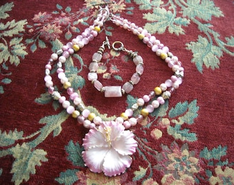 Metal Flower Brooch Pendant On A Double Strand Pearl and Bead Necklace and A Sunstone Bracelet